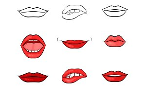 Vector woman lips and mouth