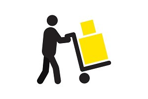 Man carrying two boxes with hand truck silhouette