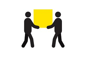 Two men carrying big square box in hands silhouette