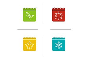 Seasons calendar glyph color icon set
