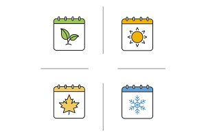 Seasons calendar color icons set.