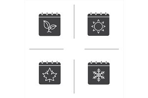 Seasons calendar glyph icons set