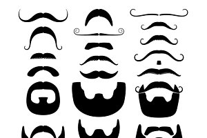 Moustaches and beards silhouettes