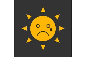 Teary sun smile glyph color icon