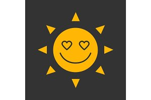 In love sun smile glyph color icon
