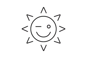 Winking sun smile linear icon