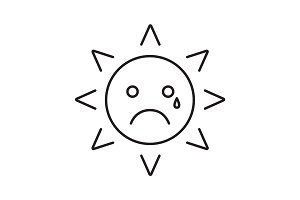 Teary sun smile linear icon