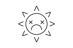 Dead sun smile linear icon