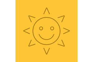 Happy and funny sun smile linear icon
