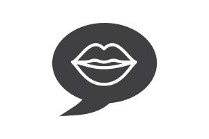 Erotic talk glyph icon