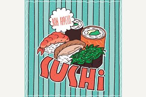 Food poster with Sushi