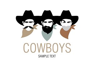 Three Cowboys Logo Vector