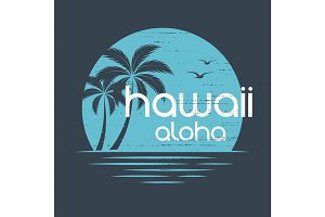 Hawaii Sunset. T-shirt and apparel vector design, print, typogra