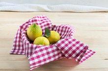 Lemons on wooden table