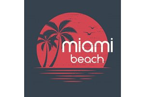 Miami sunset. T-shirt and apparel vector design, print, typograp