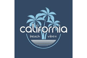 California beach vibes t-shirt and apparel vector design, print,