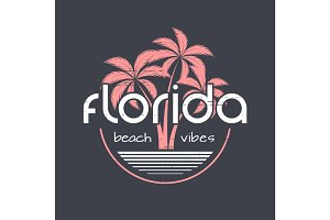 Florida beach vibes t-shirt and apparel vector design, print, ty