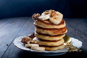 Homemade pancake with banana