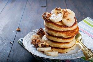Homemade pancakes with banana