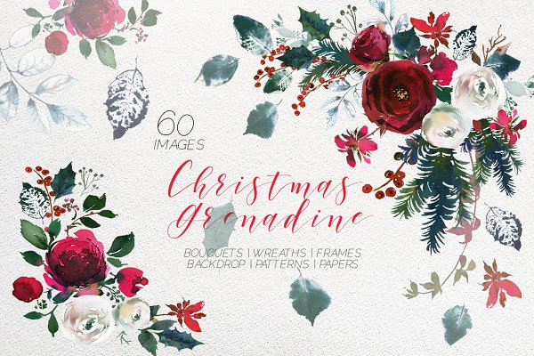 Christmas Watercolor Flowers Clipar…