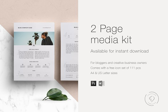 Media Kit Template - 2 Pages in Templates - product preview 2