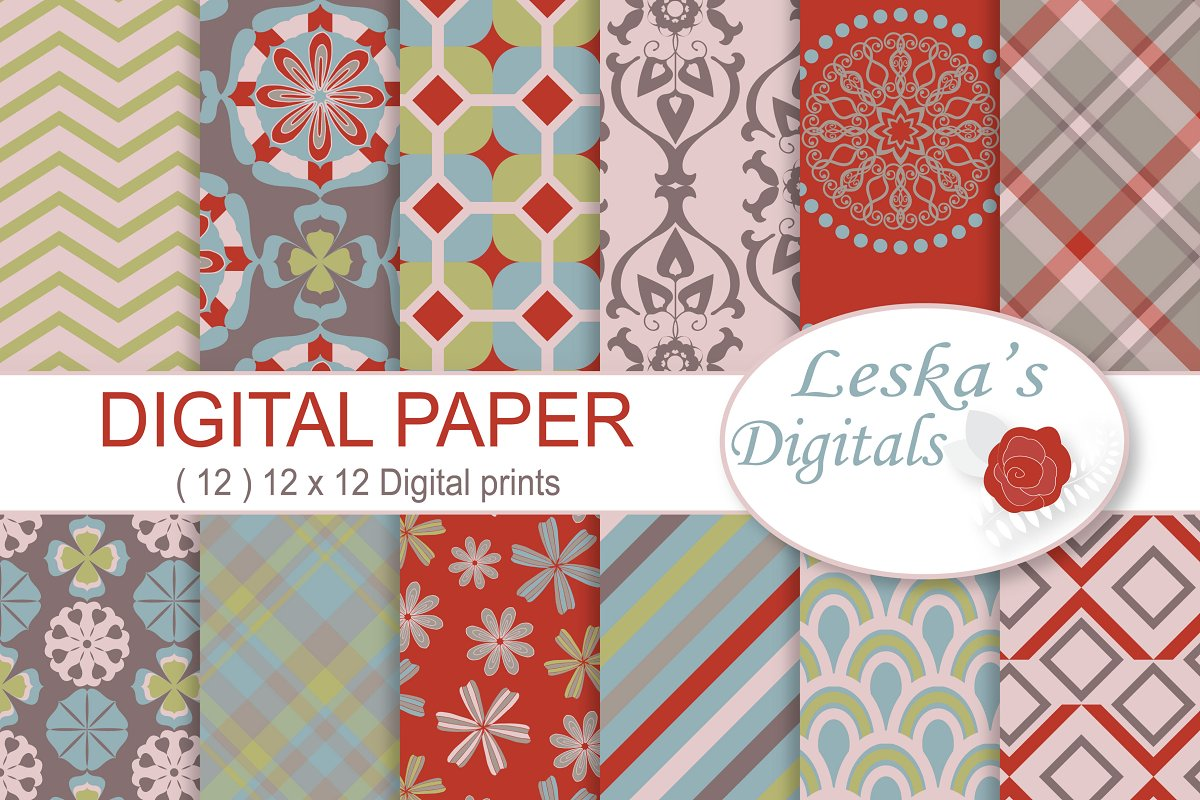 0489212879ea5 Digital Paper Commercial Use ~ Graphic Patterns ~ Creative Market