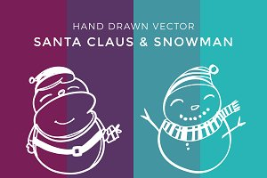 Hand Drawn Vector Santa + Snowman