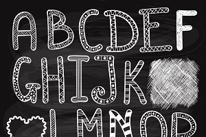 Vector Hand Drawn Chalk Letters