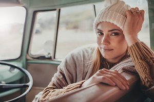 Beautiful woman on roadtrip