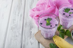 Refreshing summer purple smoothie