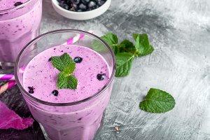 Refreshing summer purple smoothie