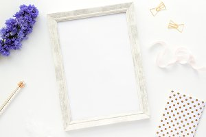 Styled photo - frame & blue & gold