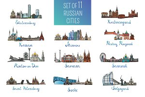 Set of 11 Russian cities