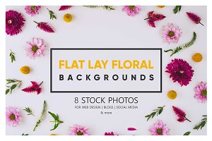 Flat lay floral Stock Photo