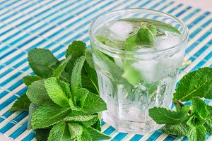 Cool water surrounded by mint