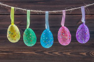 Easter eggs on a string.