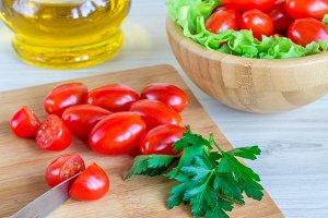 cherry tomatoes and fresh herbs