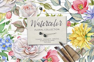 15% OFF.Watercolor Floral Collection