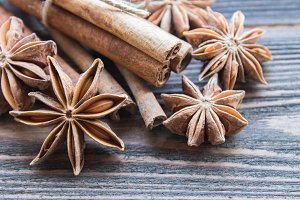 Cinnamon sticks with star anise.