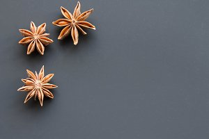 star anise on a black background.