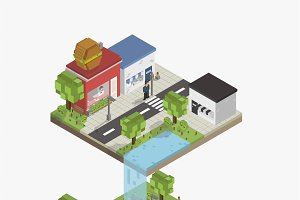 Vector of a pixelated city