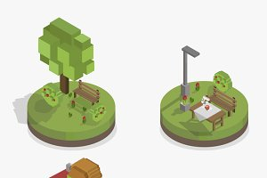Pixelated park and city models