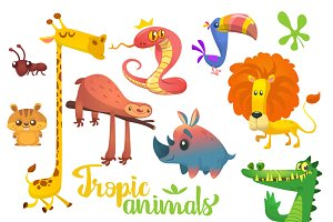 Cartoon african animals. Vector set