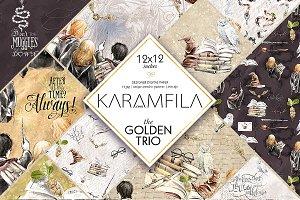 The Golden Trio Digital Paper Pack