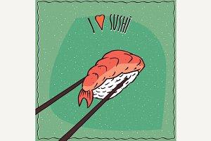 Chopsticks holding sushi roll Nigiri
