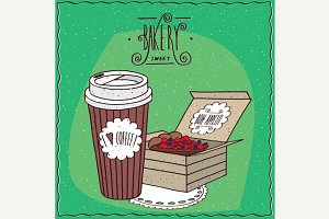 Coffee in paper cup and berry pie in carton box