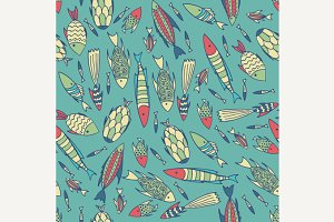 Cyan pattern with fishes in a chaotic manner