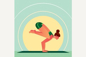 Girl standing in Yoga Crane Pose or Bakasana