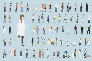 set of human avatar vector