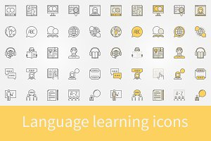 Language learning icons
